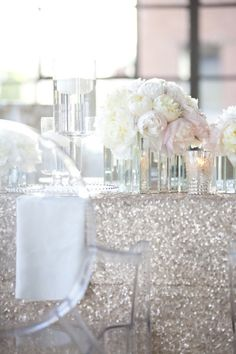 Love the sequin table cloth!