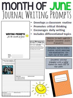 Start your class off with some engaging, creative and thought-provoking writing prompts! These June writing prompts are a great way to establish routine in your classroom.