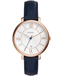 Amazon.com  Fossil ES3843 Jacqueline Rose Gold-Tone Watch with Navy Leather  Band  Fossil  Watches ff0324644c