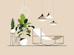Illustration by Joanna Ławniczak People Illustration, Plant Illustration, Digital Illustration, Graphic Illustration, Interior Sketch, Interior Design, Grafik Design, Flat Design, Vector Art
