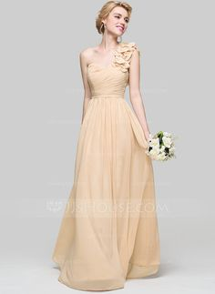 [US$ 127.49] A-Line/Princess One-Shoulder Floor-Length Chiffon Bridesmaid Dress With Ruffle Flower(s)