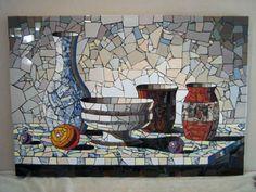 mosaic still life Mosaic Tile Art, Mosaic Artwork, Mosaic Diy, Mosaic Crafts, Mosaic Projects, Mosaic Glass, Stained Glass, Glass Art, Cool Ideas