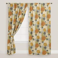 Floral Mackenzie Cotton Tab Top Curtain at Cost Plus World Market >> #WorldMarket Home Decor, Curtains, Tips & Tricks