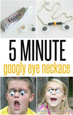 This 5 minute DIY googly eye necklace will keep the kids entertained for hours! Best part is you can find all of the supplies around your house! | Project my Beckie Farrant