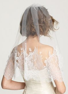 Chantilly lace veil. love the detail on the veil but would like it on a cathedral length