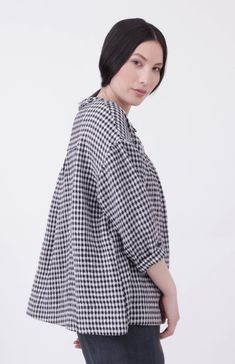42d3b05892af3 SIMPLEWEAR Collection by Nadinoo Gingham 100% Linen Black white check Loose  Easy wear style