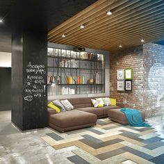 Home Design, Cozy Artist Loft Living Room With Sectional Sofa And Custom Bookshelves And Exposed Brick Wall ~ Awesome Creative Lofts Fit for Stylish Artists Lobby Design, Loft Interiors, Office Interiors, Apartment Interior, Apartment Design, Man Room, Home Interior Design, Living Spaces, Living Room