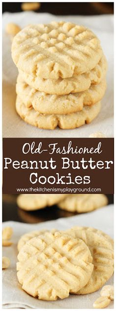 Grandmas Old-Fashioned Peanut Butter Cookies ~ these are the stuff childhood cookie memories are made of! #cookies #peanutbutterrecipes #peanutbuttercookies www.thekitchenismyplayground.com