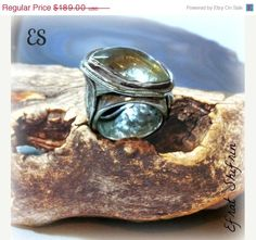 LOVE LOVE LOVE !  statement Silver ring  Gold Rutilated by EfratShifrin ON ETSY