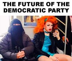 Yes! This is good. This shows why you should be democratic (shows two beautiful women that look safe)