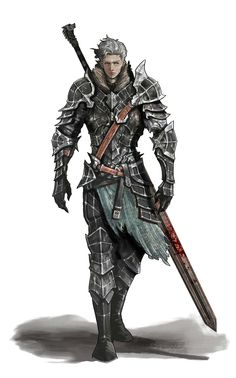Human Greatsword Fighter in Plate Armor - Pathfinder PFRPG DND D&D d20 fantasy
