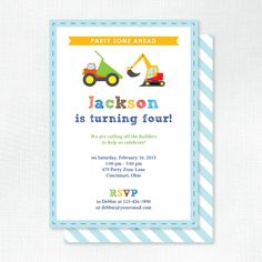 Construction Builder - Kids Birthday Party Invitations | Tickled Peach Studio