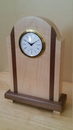 Maple w/ Walnut Mantle Clock by DublesWoodcrafts on Etsy Clock Ideas, Diy Clock, Mantle Clock, Wood Clocks, Art Deco Design, Woodworking Projects, Wood Projects, Vanities, Wood Working