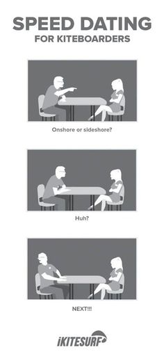 Speed dating for kitesurfers- I'm going to assume this is the girl saying NEXT to the guy!!! My standard night out hahaha