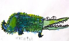 Kindergarten 1st grade geometric shape alligator art lesson project