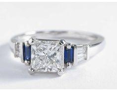 Robert Leser Baguette-Cut Sapphire and Diamond Engagement Ring in 18k White Gold | Blue Nile $17,774