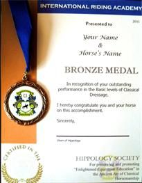International Bronze medal for classical horsemanship in classical dressage tests 1-6 with 60+% scores from high performance judges, coaches, & riders across the globe.