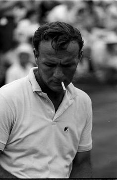 """Arnold Palmer - nicknamed """"The King,"""" he is regarded as one of the greatest players in the history of men's professional golf. Seen here with 3 button polo shirt, flat knit collar and cuffs.  Style your own golf shirt at www.vastrm.com"""