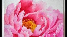 Watercolour painting - Peony esperoat - YouTube