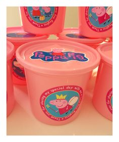 Peppa pig party buckets -  To order email jackie@babazoo.co.za