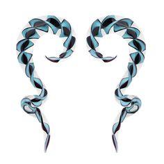 BodyJ4You Glass Spiral Taper Blue Black Ribbon Teardrop Ear Gauge 4G 5mm Piercing Jewelry