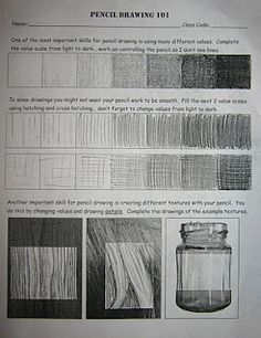 Exercise in Pencil Drawing: shading, cross-hatching, simulating textures