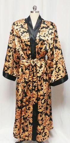 BEAUTIFUL LUXURIOUS BLACK   GOLD ADONNA HEAVY SATIN PEIGNOIR DRESSING GOWN  Black Satin 0aa1ca90c