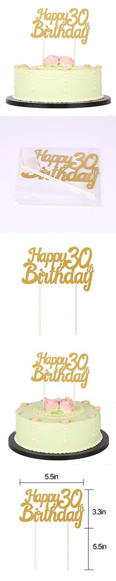 LXZS-BH Gold Glitter Happy Birthday 30th Cake Topper,Party Cake Decoration Supplies 30 Cake Topper, Cake Toppers, Happy 30th Birthday, Birthday Parties, 30th Cake, Party Cakes, Gold Glitter, Vanilla Cake, Cake Decorating