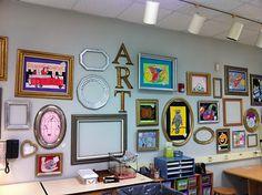 Apex Elementary Art: Wall of Frames for student artwork