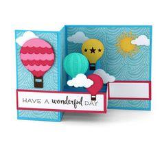 Silhouette Design Store - View Design #143165: pop up box card hot air balloons