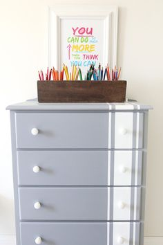 Striped furniture for every room in the house! Striped Furniture, Diy Kids Furniture, Repurposed Furniture, Furniture Makeover, Painted Furniture, Home Furniture, Painted Dressers, Painted Chest, Desk Makeover