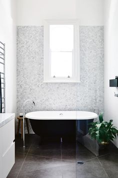 65 Ideas Bath Room Window In Shower Shelves House, Black White Bathrooms, Home, Window In Shower, House Styles, White Bathroom, Amazing Bathrooms, Bathroom Design, Small Bathroom Remodel