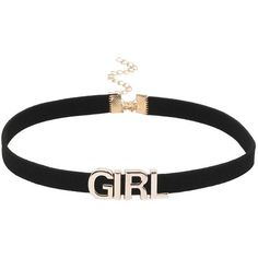 Girl Letter Black Velvet Choker ($3.99) ❤ liked on Polyvore featuring jewelry, necklaces, choker, collares, accessories, black, velvet choker, choker necklace, collar jewelry and collar choker