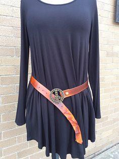 Handmade Leather Belt with Peace Belt Buckle for sale at Upper Eastside Nashville in East Nashville TN. Online at www.UENashville.com