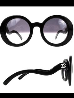 4281f06a9d90 CHANEL - NEW - HALF TINT SUNGLASSES - BLACK ROUND CC LOGO WAVY ARM S5018  5018 We sold ours for  1500!