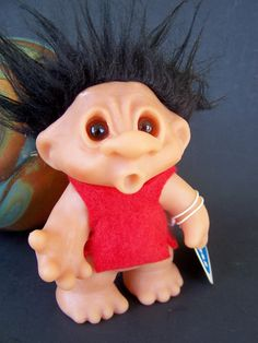 Vintage Toy, 1983 Dam Troll Thumbsucker Expression , Made in Denmark, Rare Black Hair, Dark Amber Eyes, with original tag
