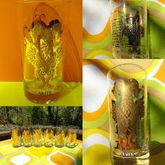 VTG 60s Retro Gold Glass High Ball Zodiac Sign Barware Tumbler Groovy ARIES RAM