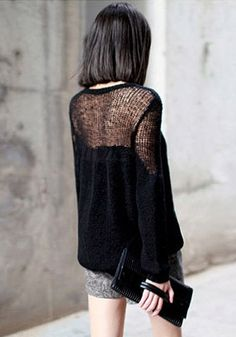 Open Weave Pullover - Black - Features Loose Open Weave At Collar