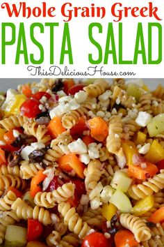 Light and delicious healthy Greek Pasta Salad made with traditional greek salad flavors and heart healthy whole wheat rotini pasta. Perfect make-ahead side! Antipasto Pasta Salads, Pasta Salad Recipes, Greek Salad Pasta, Pasta Salad Italian, Healthy Side Dishes, Healthy Dinner Recipes, Brunch Recipes, Diet Recipes, Traditional Greek Salad