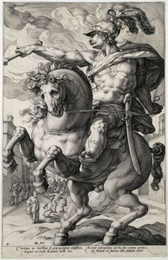vcrfl:Hendrik Goltzius: Marcus Curtius, 1586.  See an anonymous painting based on this print.