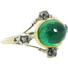 Stunning Georgian Emerald and diamonds ring, 18kt gold and silver, circa 1830 #GoldJewelleryDisplay