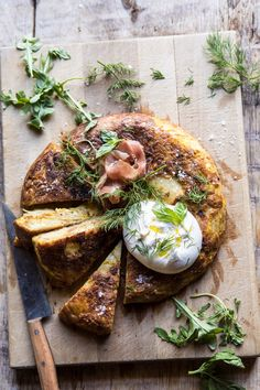 Spanish Tortilla with Burrata and Herbs. - Half Baked Harvest overhead photo of Spanish Tortilla with Burrata and Herbs with knife in photo Vegetarian Recipes, Cooking Recipes, Healthy Recipes, Lasagna Recipes, Freezer Recipes, Vegetarian Lunch, Cooking Games, Freezer Cooking, Milk Recipes