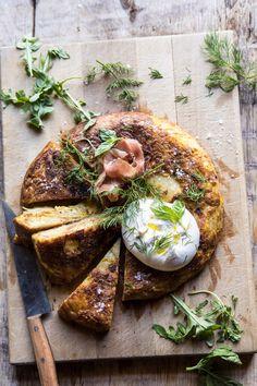 Spanish Tortilla with Burrata and Herbs | halfbakedharvest.com #brunch #potatoes #eggs via @hbharvest