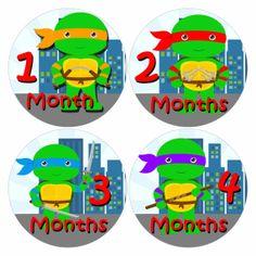 Baby Monthly Stickers Teenage Mutant Ninja Turtles By PunkyPony, $9.99