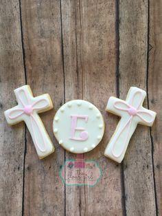 Baptism first communion cross pink cookies. Girl