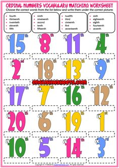 A fun ESL printable matching exercise worksheets for kids to study and practise ordinal numbers vocabulary. Look at the list below and write the names of the ordinal numbers vocabulary under the correct pictures. Esl Learning, Learning Cards, Preschool Learning Activities, Learning Numbers, Year 2 Maths Worksheets, Grammar Worksheets, Dictionary For Kids, Picture Dictionary, Ingles Kids
