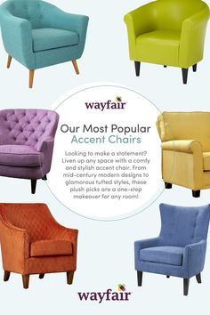 Your ideal accent chair is here. Get inspired by designs for every type of home. These plush picks are sure to make a style statement, whether you're in your first apartment or your dream home. Shop styles for every space at up to 70% OFF every day, and enjoy FREE shipping over $49 (even the big stuff!). Sign up to see more!