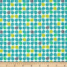 Michael Miller Just My Type Retro Clover Breeze from @fabricdotcom  Designed by Patty Young for Michael Miller, this cotton print is perfect for quilting, apparel, crafts, and home décor projects. Colors include cream, lime, turquoise, mint, and grey.