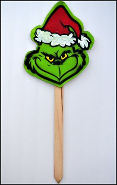 Outdoor Christmas Decoration Grinch Garden Stake by PricklyPaw