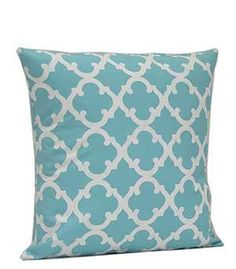 Monogrammed Aqua Geometric Print Cushion by EmbroideryByLindaP